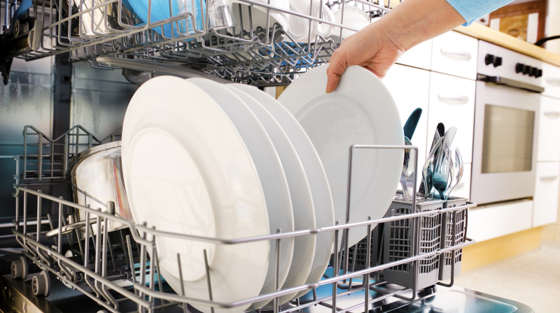 person loading plates into dishwasher